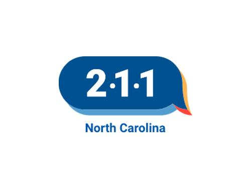 A blue text bubble with 2-1-1 inside. The words North Carolina appear underneath the text bubble.
