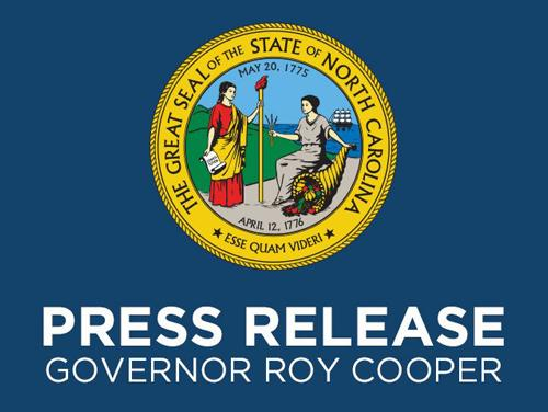 A blue background with the Great Seal of North Carolina with text underneath reading Press Release Governor Roy Cooper