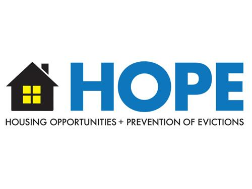 An outline of a house appears next to the word HOPE. Underneath this it says Housing Opportunities and Prevention of Evictions