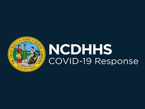 NCDHHS Logo with text reading NCDHHS COVID-19 Response