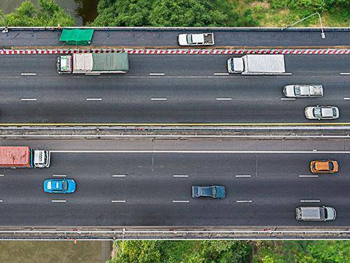 Aerial view of vehicles on a highway