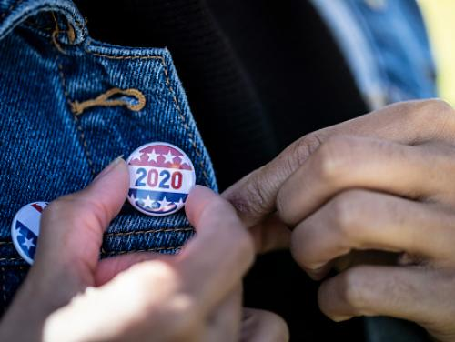 2020 Elections Button Pinned to Jacket