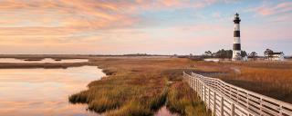 Bodie Island Lighthouse and boardwalk autumn landscape on the Cape Hatteras National Seashore in North Carolina