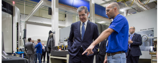 Governor Cooper speaks with students