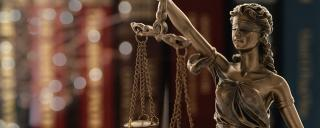 statue of justice or lady justice with law books background