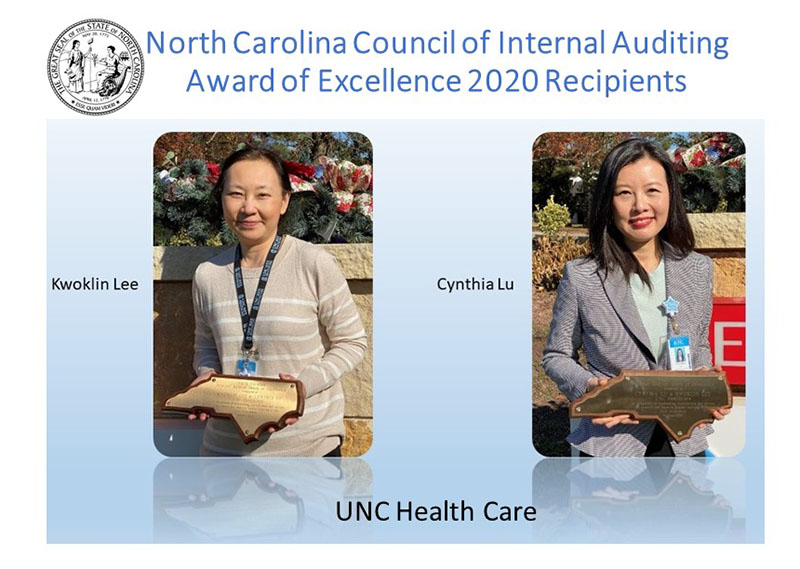 The 2020 NC Council of Internal Auditing Award of Excellence Recipients