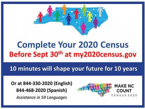 North Carolina 2020 Census deadline is September 30!