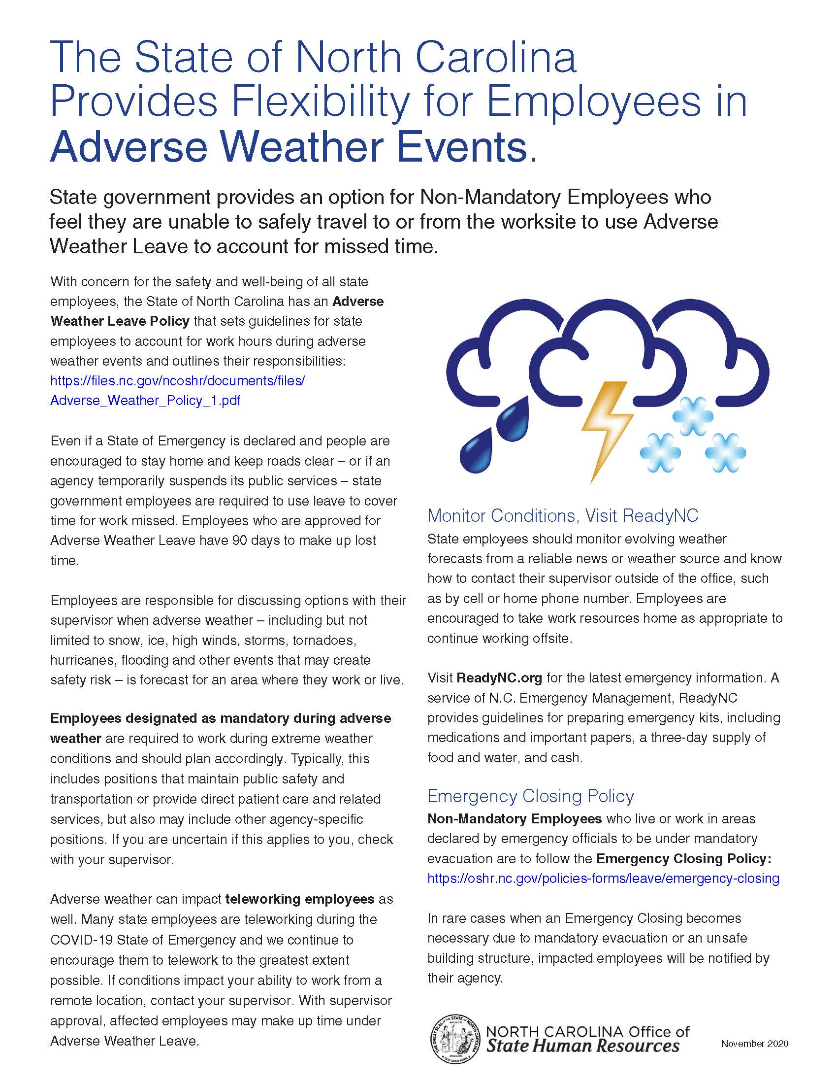 Adverse weather leave flyer for employees.
