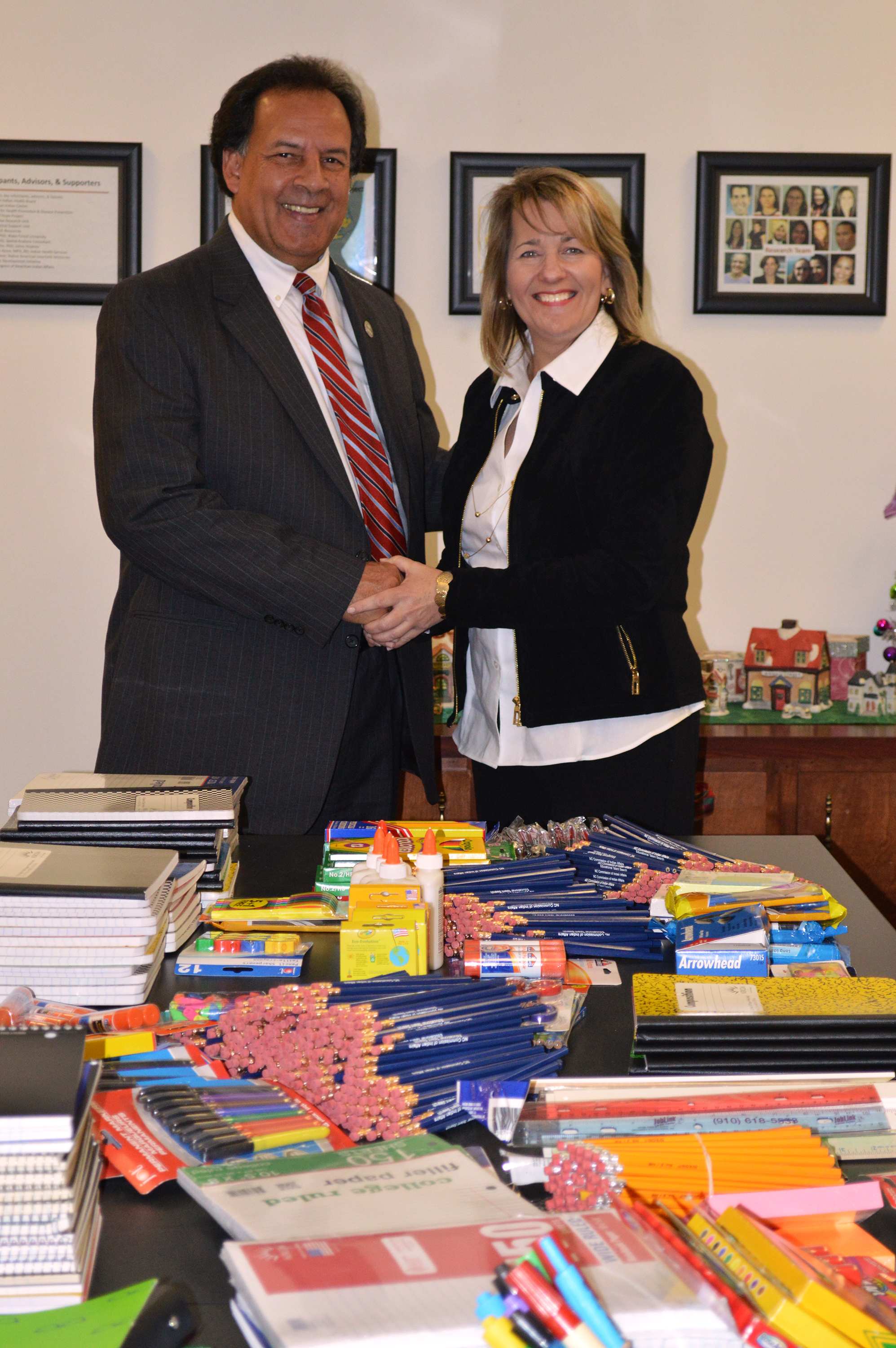 Greg Richardson, Executive Director of the Commission of Indian Affairs, poses with Paula Woodhouse, OSHR's Interim Director