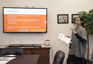 counselor at a lunch and learn session talks about nutritional counseling