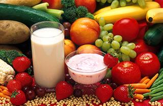Picture of Fresh fruit, veggies, milk and yogurt