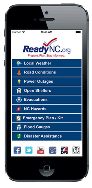 smart phone with the ReadyNC app displayed