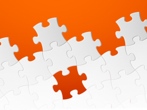 orange and white puzzle pieces
