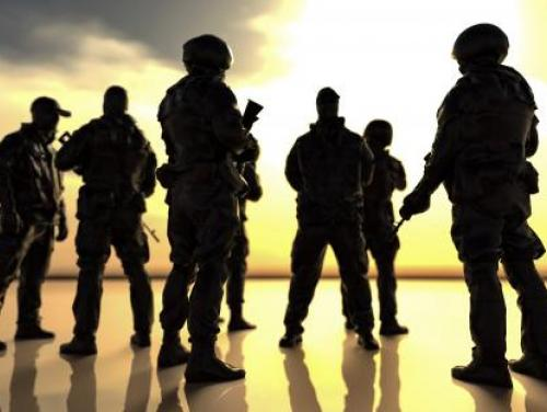 silouette of soliders in uniform