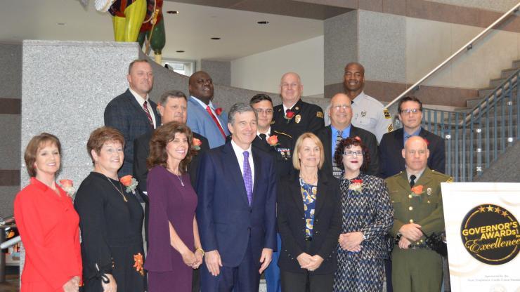 Governor Cooper, OSHR Director Barbara Gibson and 2017 Award Recipients