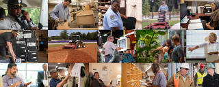 collage of men and women in different work places