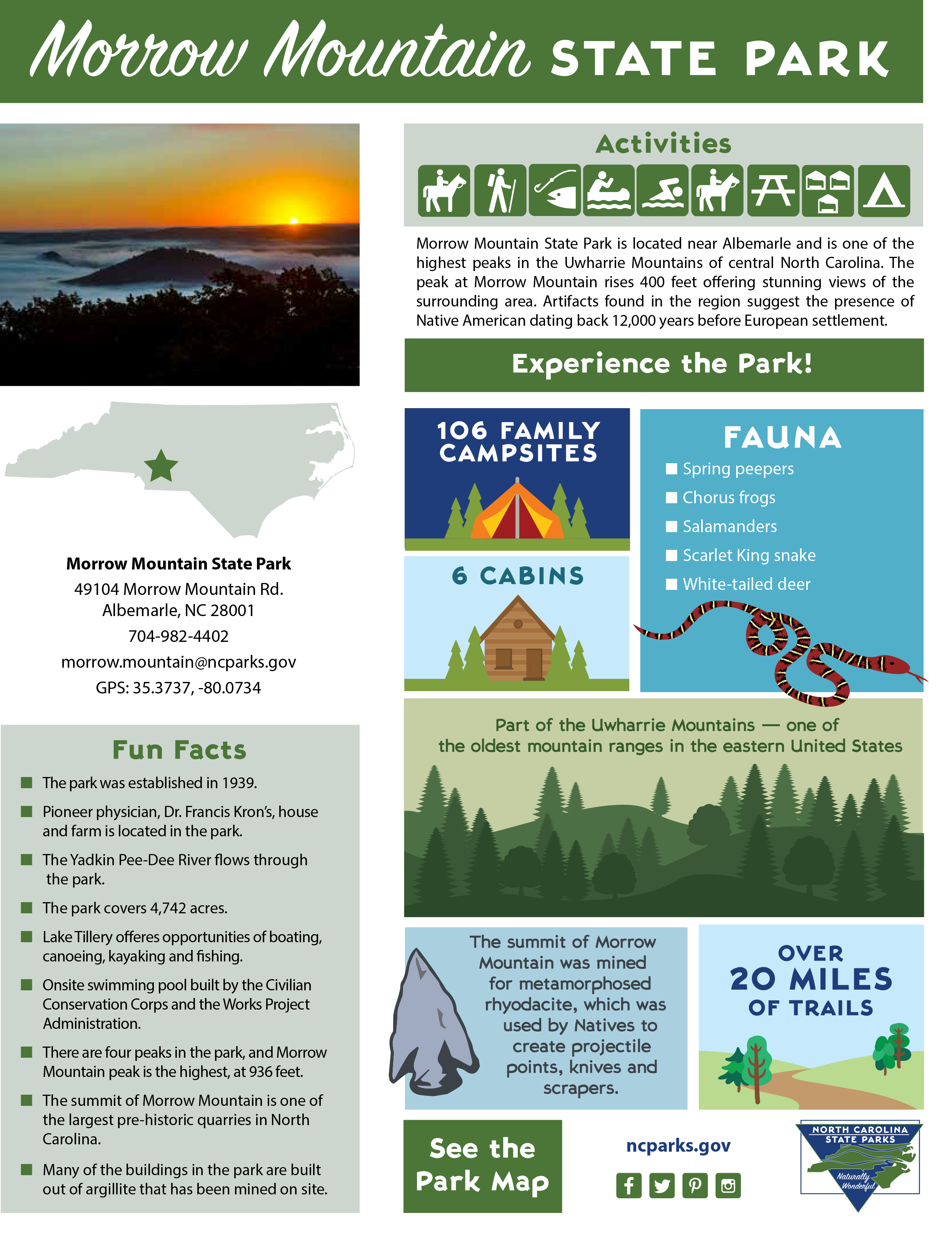 Morrow Mountain State Park Factsheet