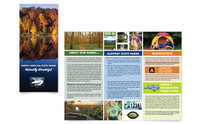 Maps and brochures nc state parks for State brochure template