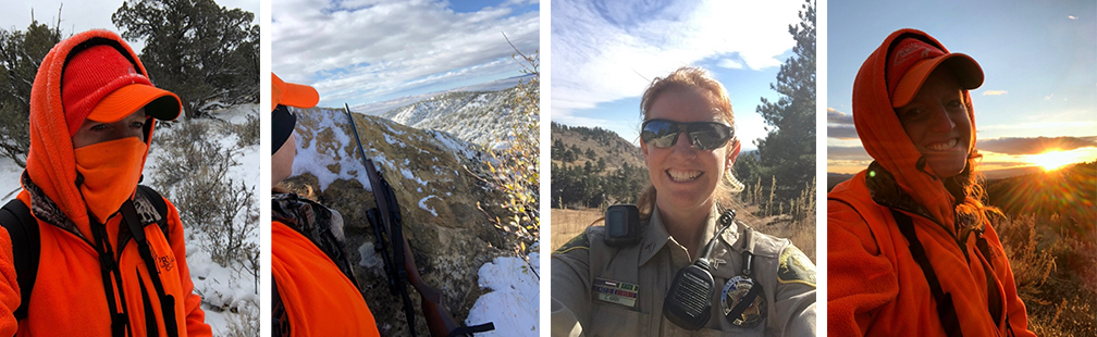 An array of photos from Ranger Cindy Kirby: photo one is Ranger Cindy bundled up in cold weather gear; photo two is a view of a valley with Ranger Cindy and her gun in the foreground; photo three is a smiling selfie of Ranger Cindy in her ranger uniform; and photo 4 is Ranger Cindy in her cold weather gear again smiling in front of a view of the sun rising over a valley. Photos courtesy of Cindy Kirby.