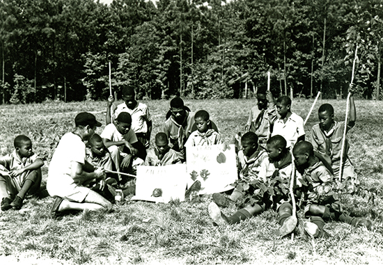 A Boy Scout troop at Whispering Pines. Photo courtesy of NC State Parks archives.