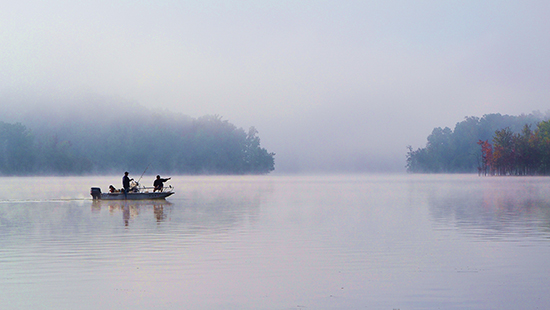 Fishermen at Kerr Lake State Recreation Area. Photo by J. Williams.