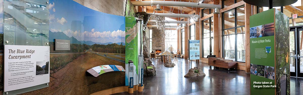 Exhibits in the Visitor Center at Gorges State Park