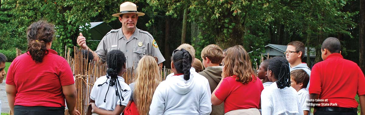 Students on a field trip at Pettigrew State Park
