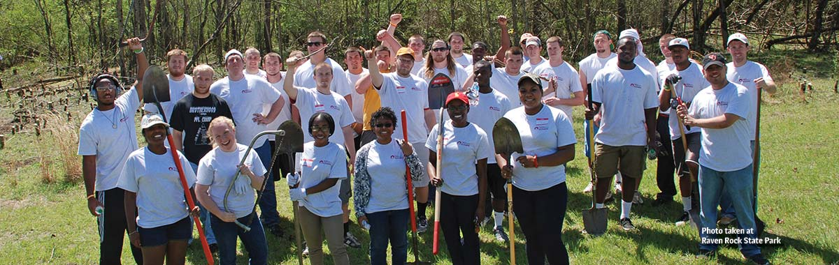 Volunteers from Campbell University working at Raven Rock State Park