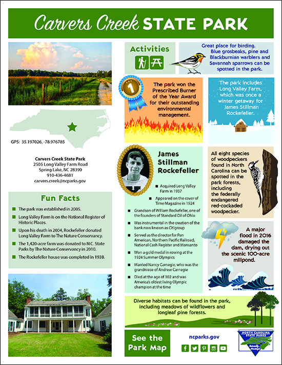 Carvers Creek State Park featured park fact sheet