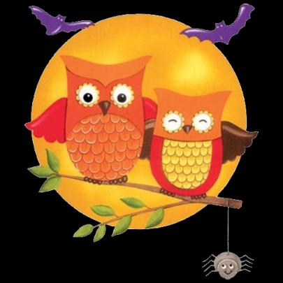 Two orange owls sitting on tree branch with bats flying above.