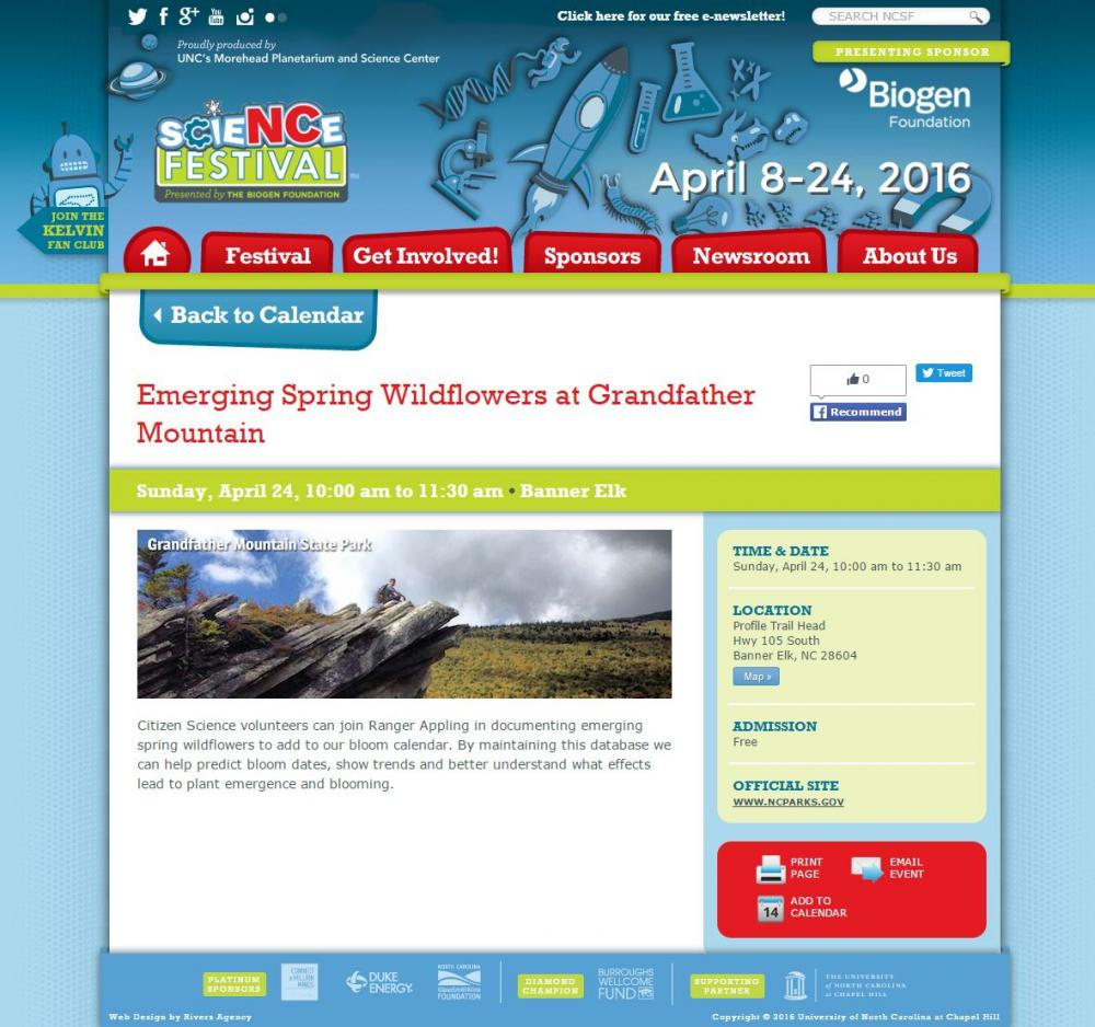 North Carolina Science Festival - Emerging Spring Wildflowers at Grandfather Mountain