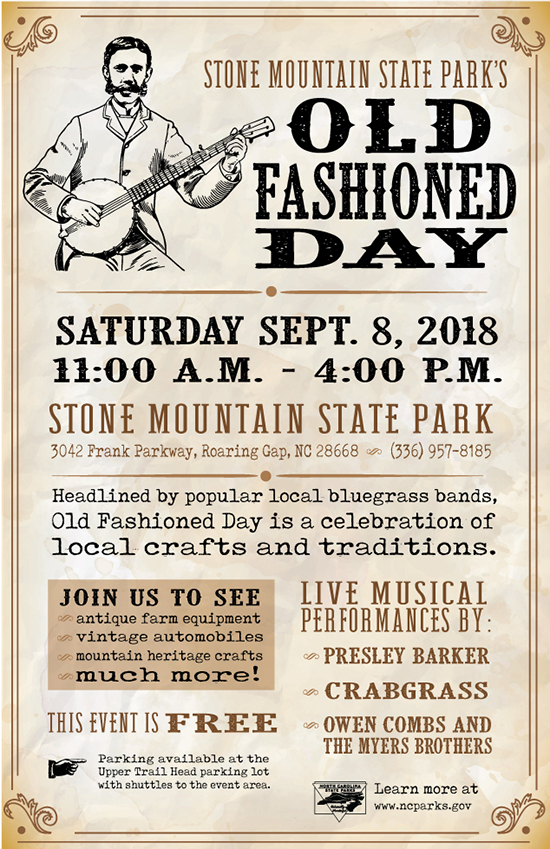 Stone Mountain State Park's Old Fashioned Day event poster