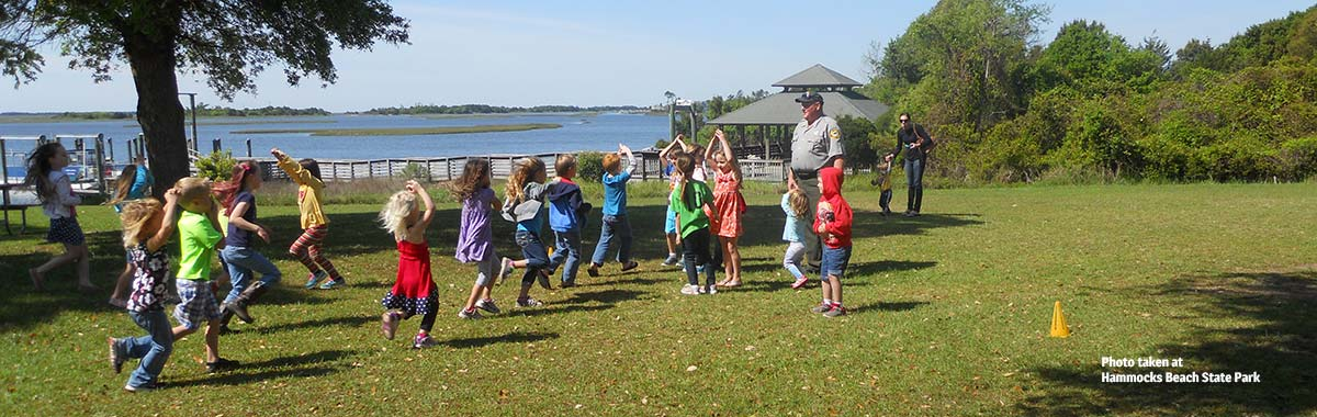 Children enjoying an activity at Hammocks Beach State Park