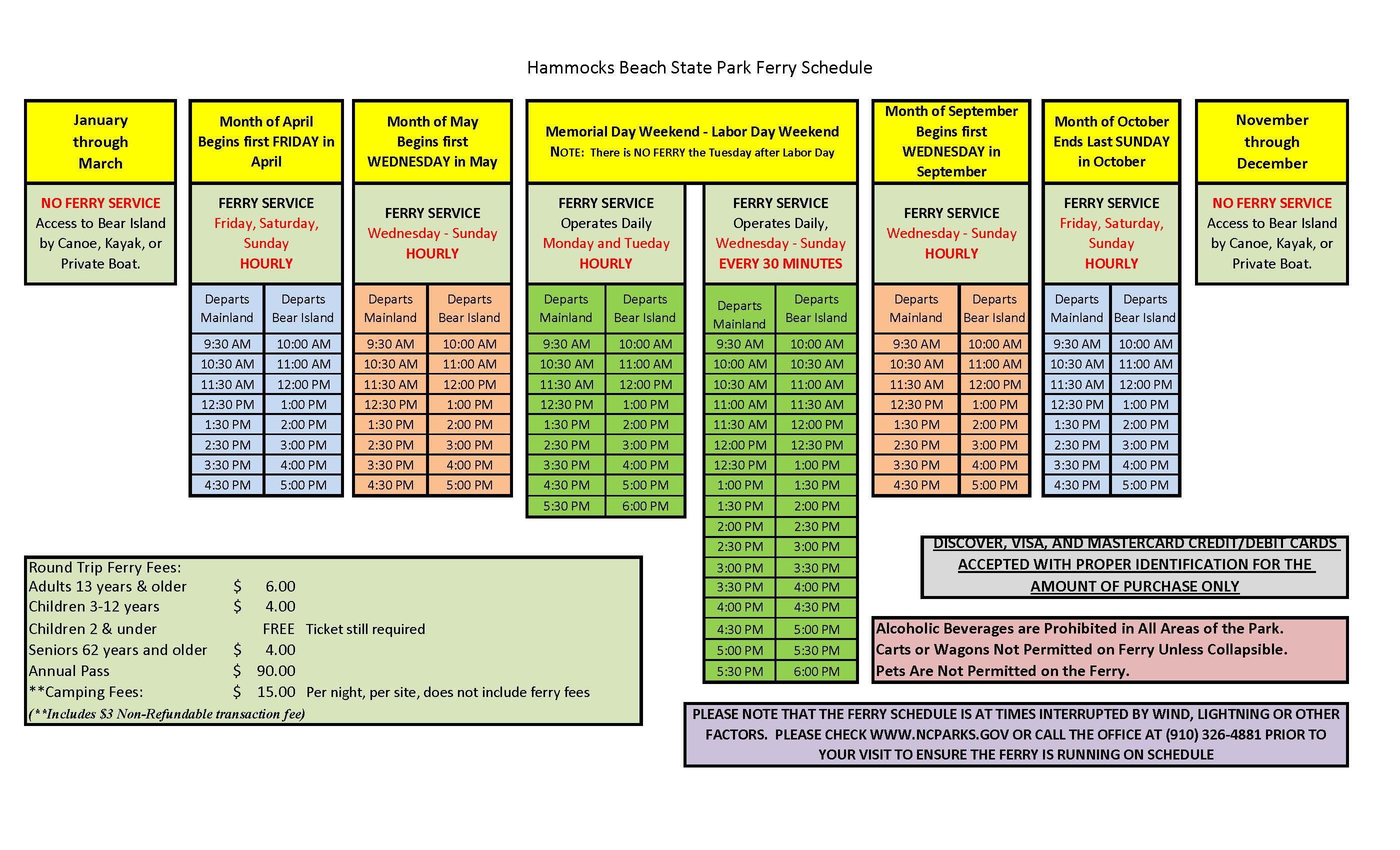 Hammocks Beach State Park ferry schedule
