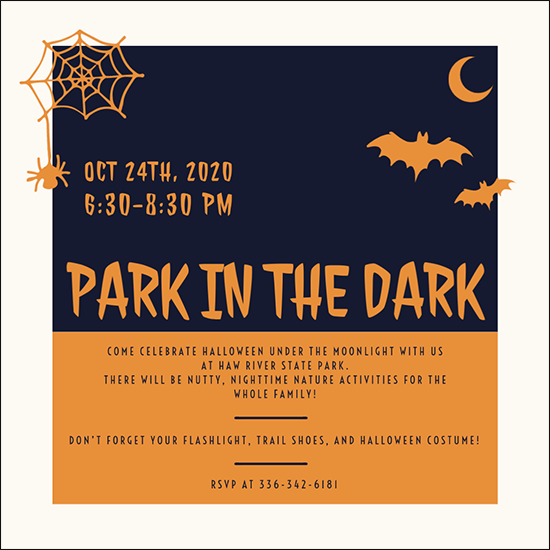 Park in the Dark flyer for Haw River State Park's Halloween 2020 event