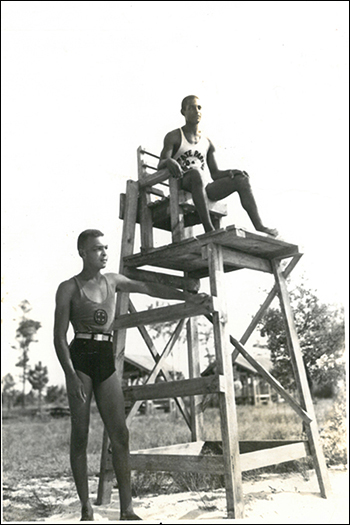 Lifeguards at Jones Lake State Park, circa 1950. Photo from the North Carolina State Parks archives.