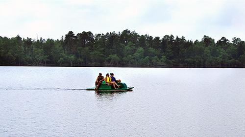 Pedal boat renters at Jones Lake State Park. Photo by C. Peek.