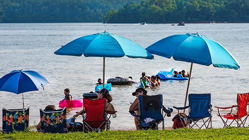 Beachgoers at Satterwhite Point access at Kerr Lake State Recreation Area. Photo by C. Peek.