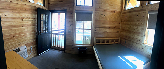 A different angle of the front room of a cabin at Lake Norman State Park. Photo by S. Avis.