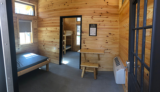 Front room of cabin at Lake Norman State Park. Photo by S. Avis.
