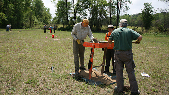 Volunteers assist in an archaeological survey at the Wire Pasture area of Lumber River State Park.