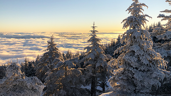 Winter sunrise at Mount Mitchell State Park. By K. Bischof.