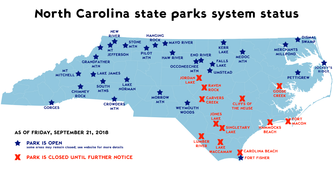 North Carolina state parks system status - September 20
