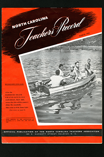 Cover of North Carolina Teachers record from 1952. Photo from the North Carolina State Parks archives.