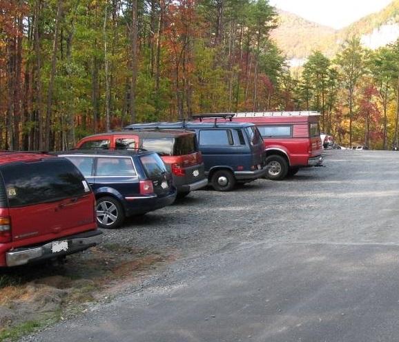 Tight parking at Rumbling Bald