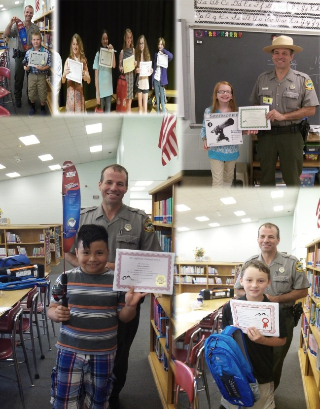Ranger Tom Randolph presenting awards to poetry contest winners.