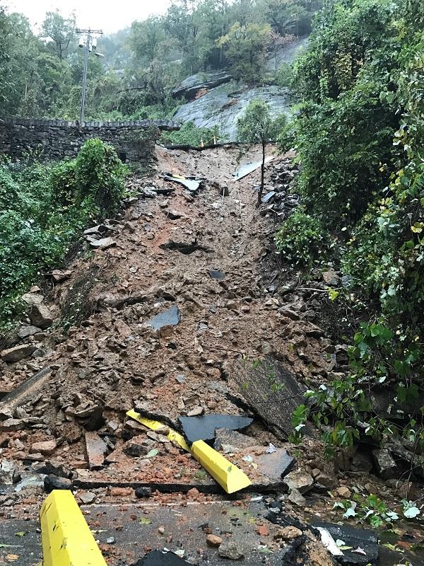 Parking lot collapse debris field