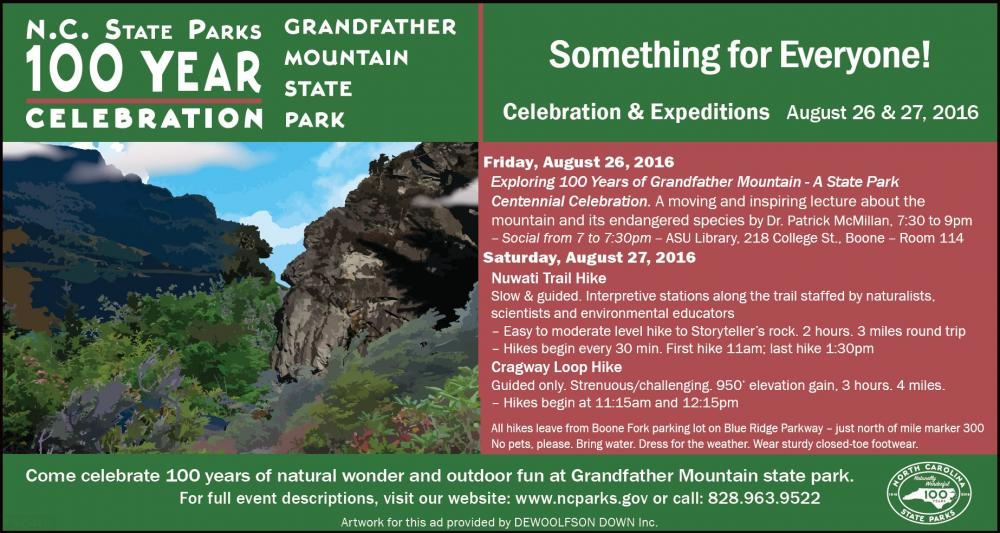 Something for Everyone! Celebration 100 Years in North Carolina State Parks at Grandfather Mountain State Park's Two Day Centennial event! (August 26 & 27)