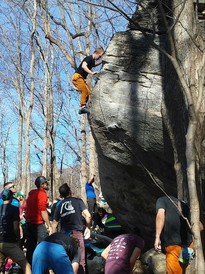 Climbing the Trailside Boulder