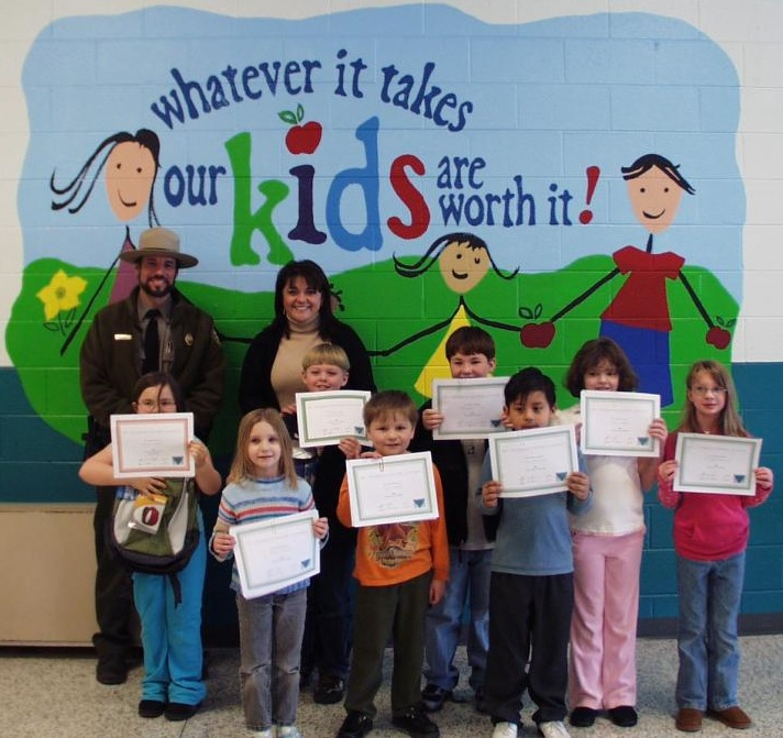 Ranger Tom Randolph with past Mount Jefferson Poetry Contest winners.